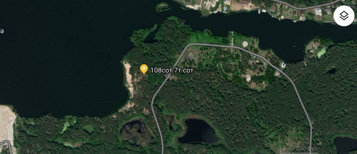 Продам 108 сот земли пгт Козин район Таценки Украинка 1-я линия вода и сосны